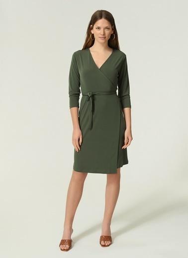 NGSTYLE Kadın Örme Kruvaze  Elbise NGKAW20EL0033 Haki